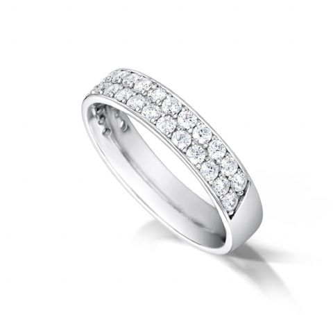 Grain set triple row eternity/wedding ring platinum. 5mm x 1.7mm